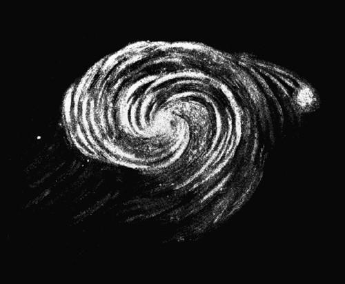 VCSE - Az M51 a 183 cm-es Leviatánnal. William parsons rajza 1845-ből. - Wikicommons