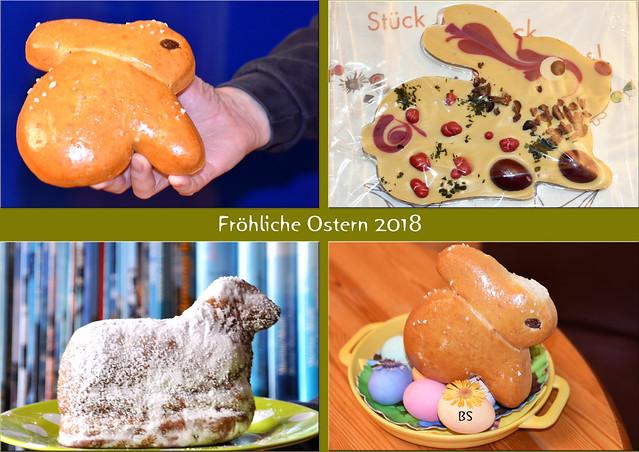 Ostern 2018 ... Süße Ostergrüße ... Biskuit-Lamm, Schokoladenkaninchen, Hefeteig ... Fotocollage: Brigitte Stolle
