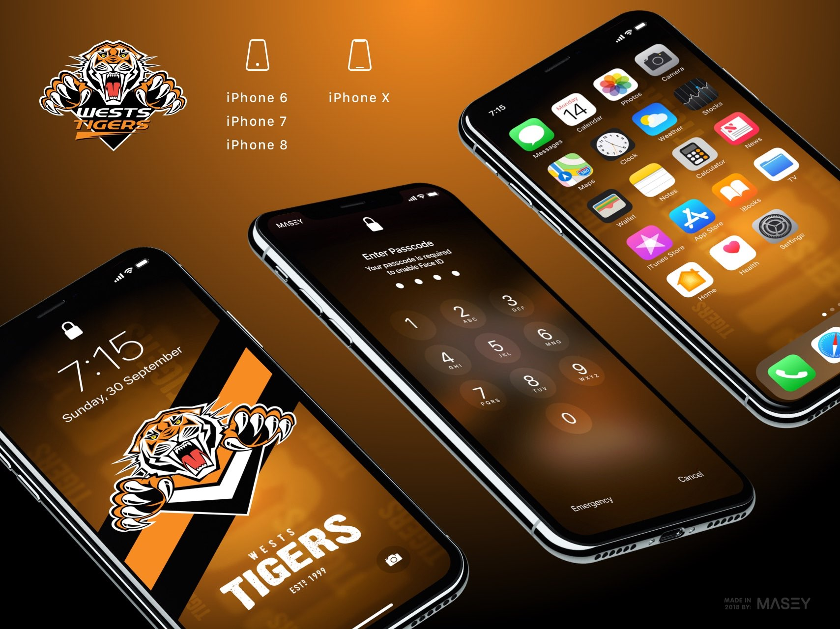Wests Tigers iPhone Wallpaper