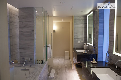 Spacious bathroom with dual sinks, standing shower and soaking tub | by thewanderingeater