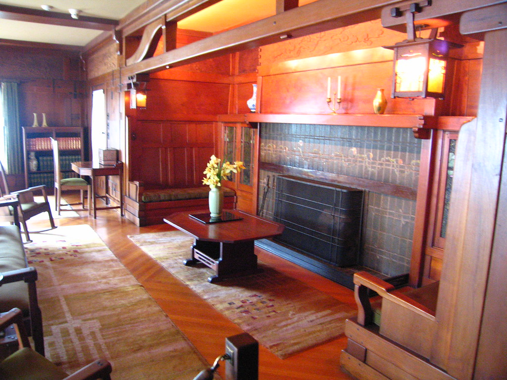Gamble house living room pasadena california during the for The family room pasadena