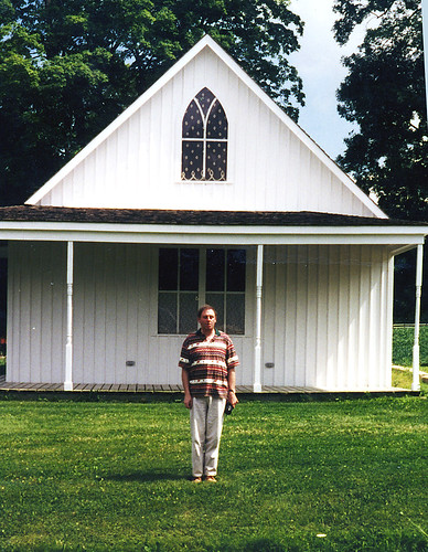 Phillip at the 'American Gothic' setting, Stone City, Iowa, 1997 | by PhillipC