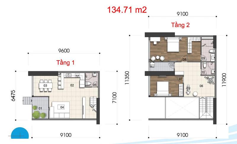 Gem Riverside thiết kế mẫu Duplex Villa - Penthouse 8