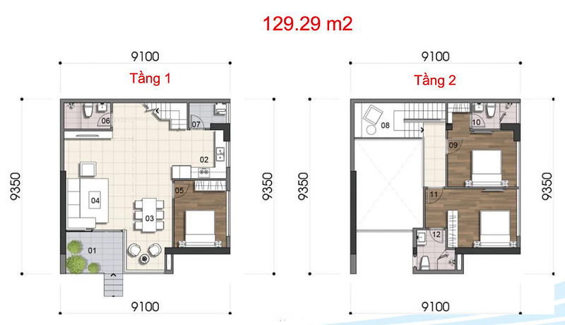 Gem Riverside thiết kế mẫu Duplex Villa - Penthouse 1