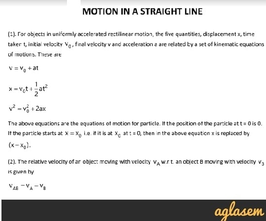 Important Notes of Physics for NEET, JEE: Motion in a Straight line