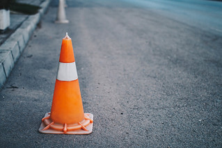 Orange Traffic Pylon on the road | by wuestenigel