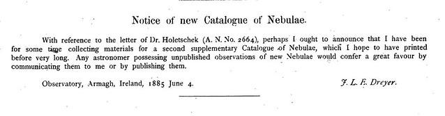 VCSE - Dreyer egyik közleménye 1885-ből, ami a ma is létező német Astronomische Nachrichtenben (AN) jelent meg. A rövid kis közlemény szövege: