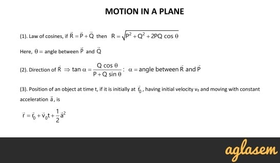 Important Notes of Physics for NEET, JEE: Motion in a Plane