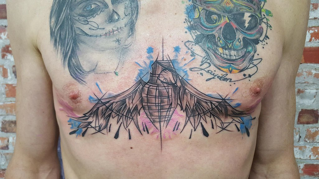 Grenade Wing Chest Piece Adrenalin Park Custom Tattoo And Body