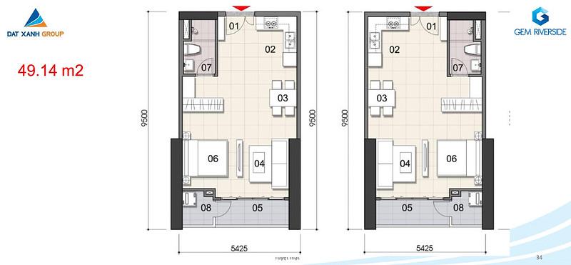 Thiết kế Mặt bằng tầng - căn hộ điển hình Gem Riverside 8