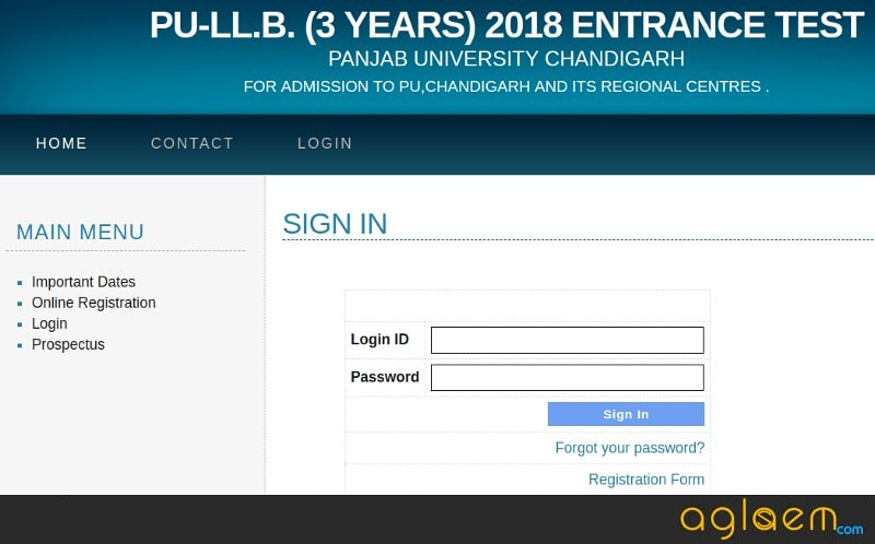 PU LLB 2018 Admit Card