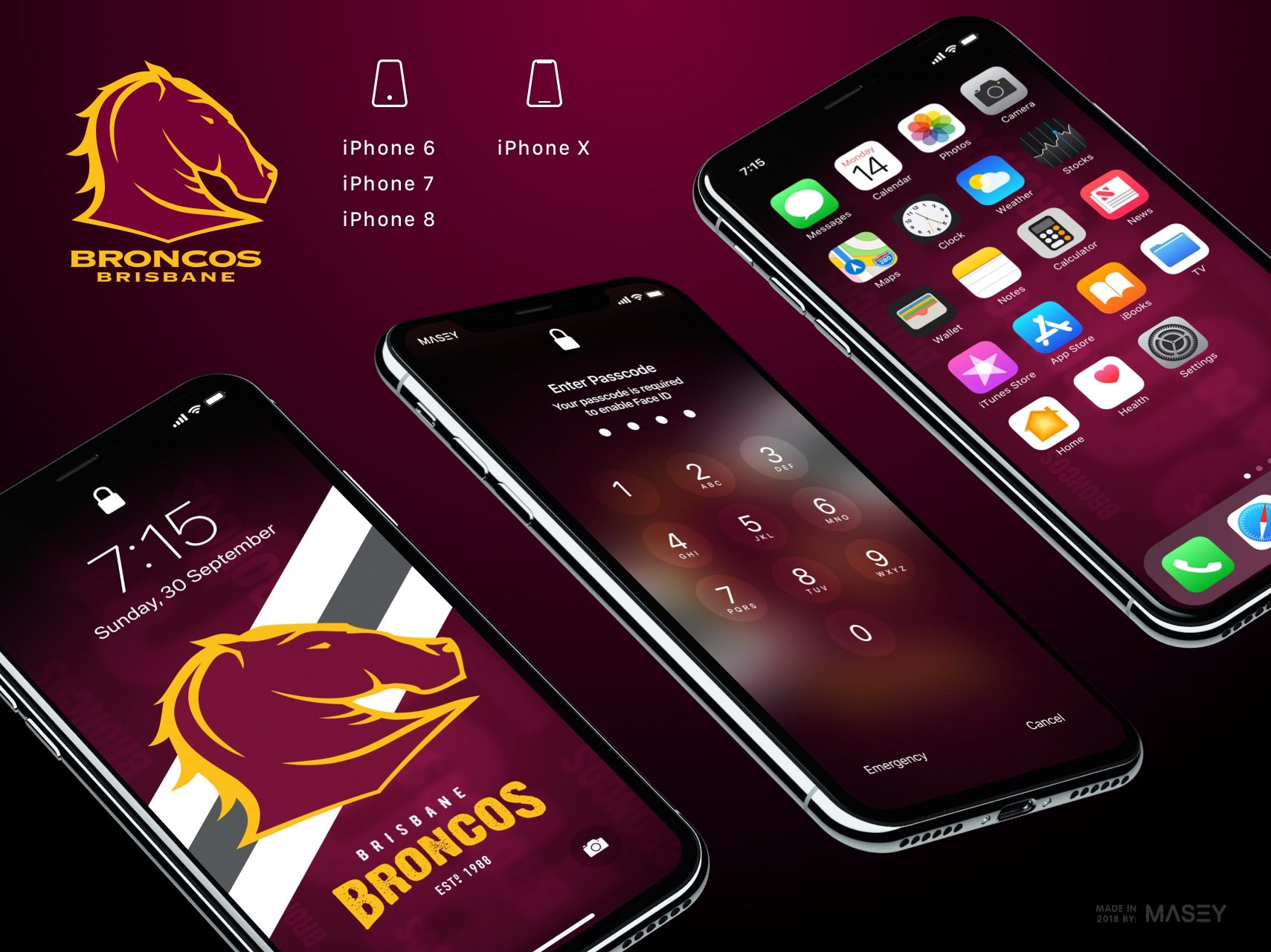Brisbane Broncos iPhone Wallpaper