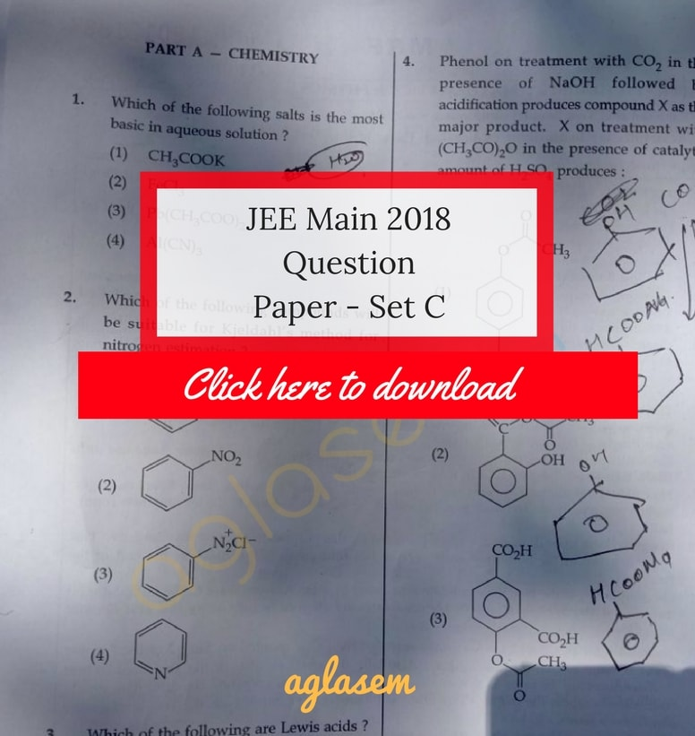 JEE Main 2018 Answer Key Paper 1 Set C