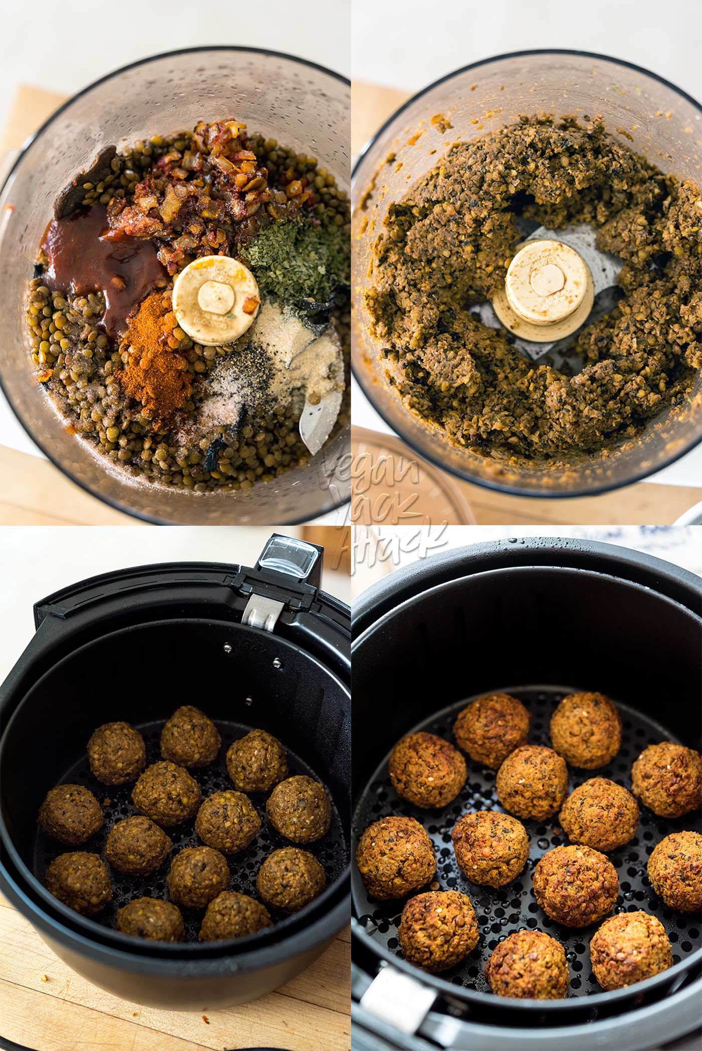 Need another use for lentils? Try out these Air Fryer BBQ Lentil Meatballs! Chewy and flavorful on the inside, while slightly crunchy on the outside, then slathered in your favorite BBQ sauce. #vegan #nutfree #airfryer #veganyackattack