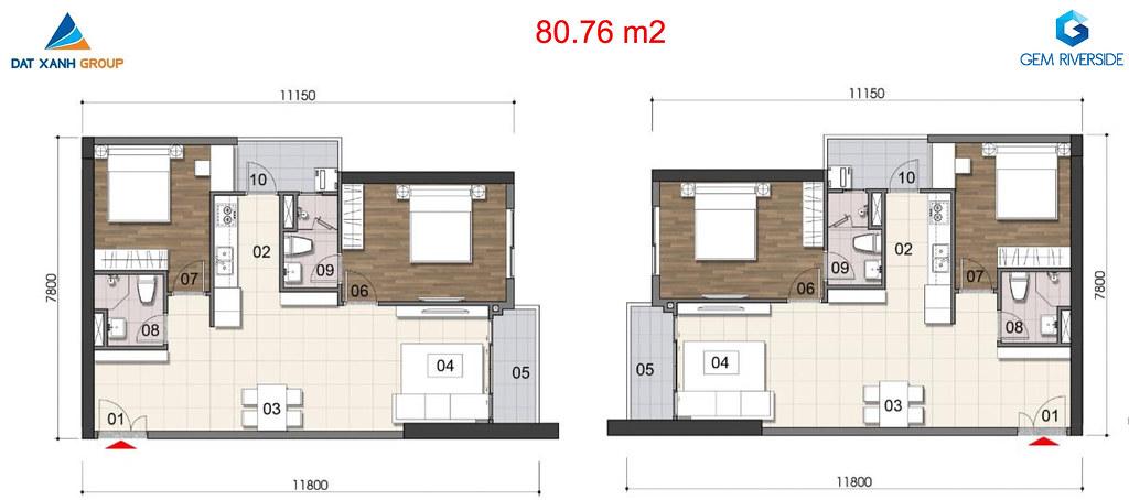 Thiết kế Mặt bằng tầng - căn hộ điển hình Gem Riverside 13
