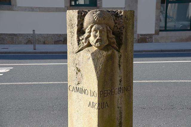 Stone sign, Arzua, Camino de Santiago, Galicia