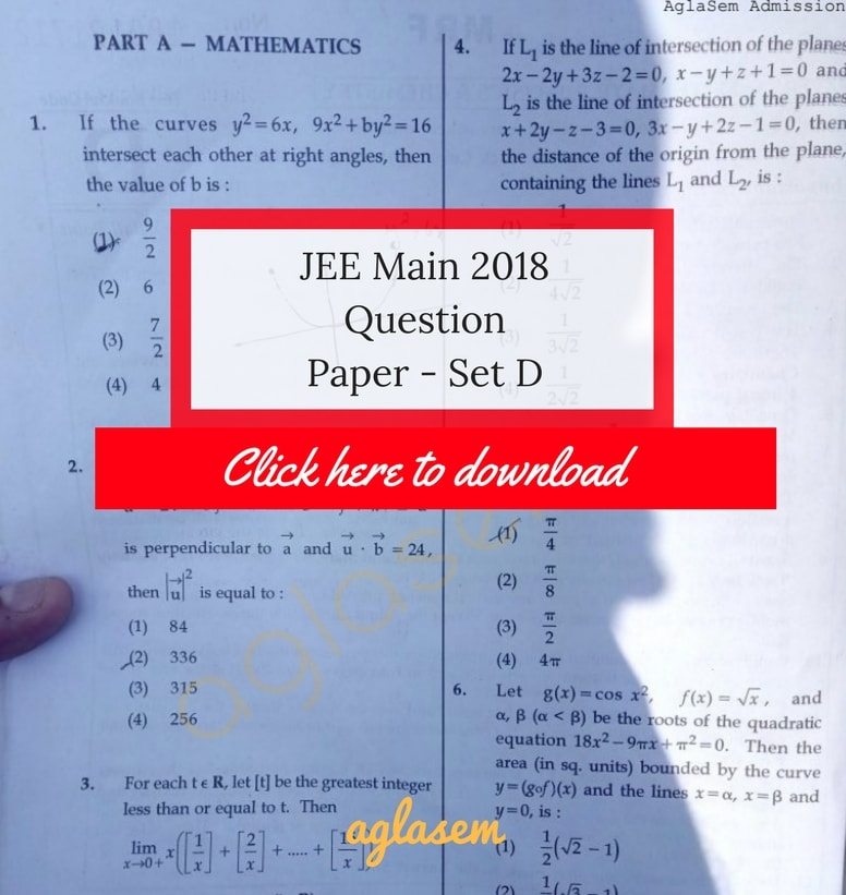 JEE Main 2018 Answer Key Paper 1 Set D