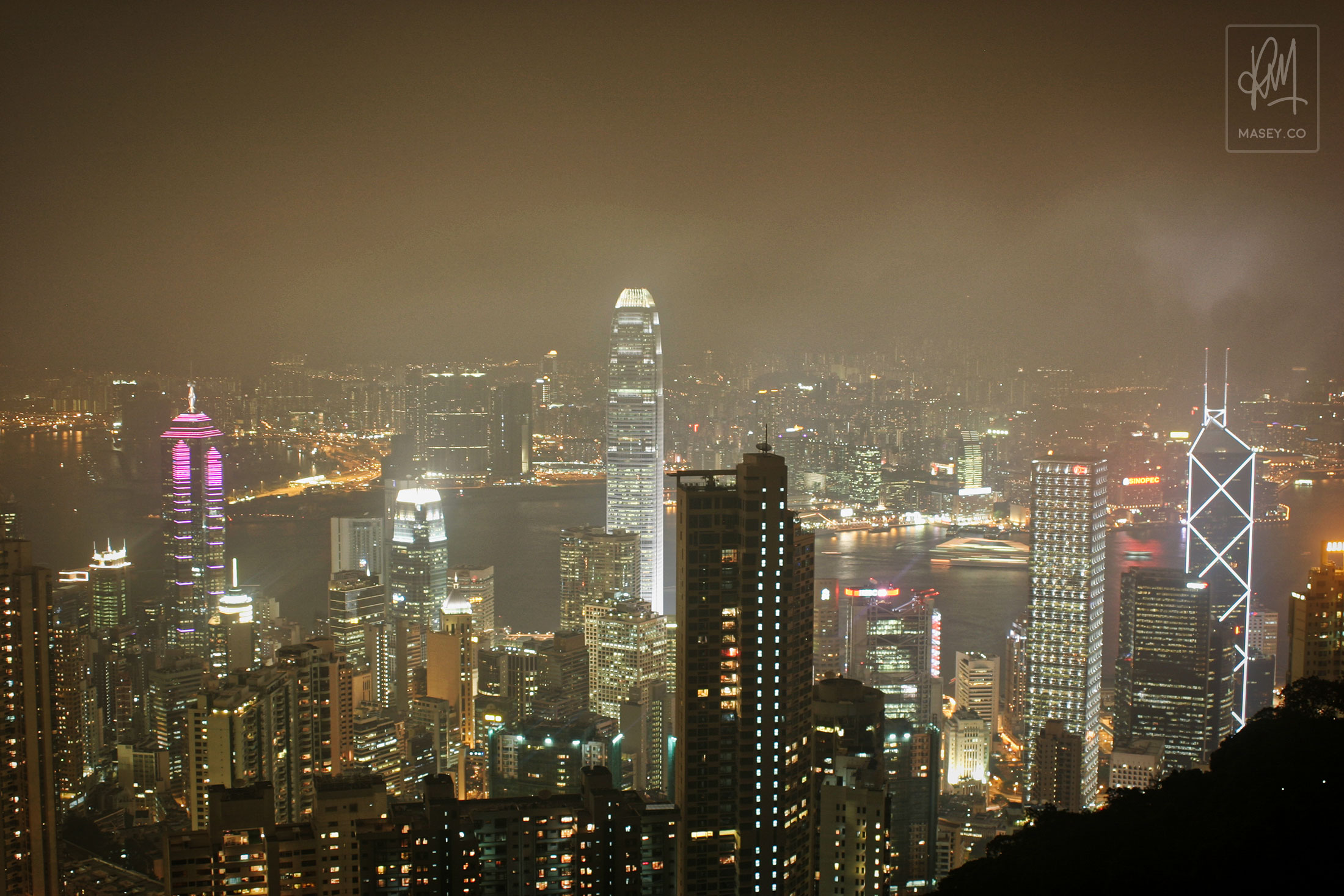 The after dark view from Victoria Peak