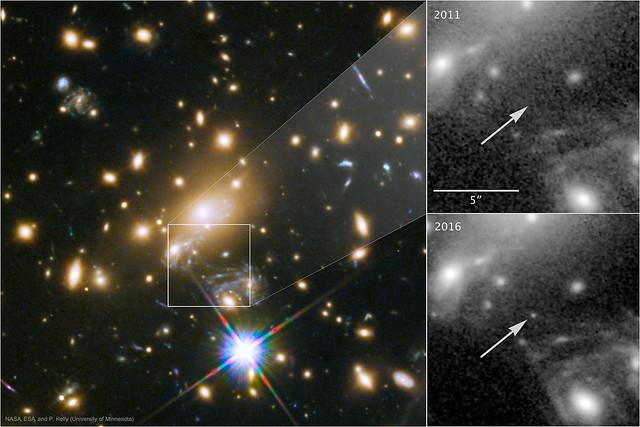 VCSE - az ismert legtávolabbinak gyanított csillag felvétele - APOD, HST