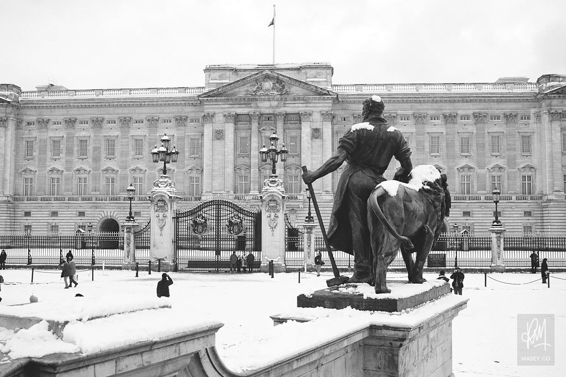 A snow-covered Buckingham Palace