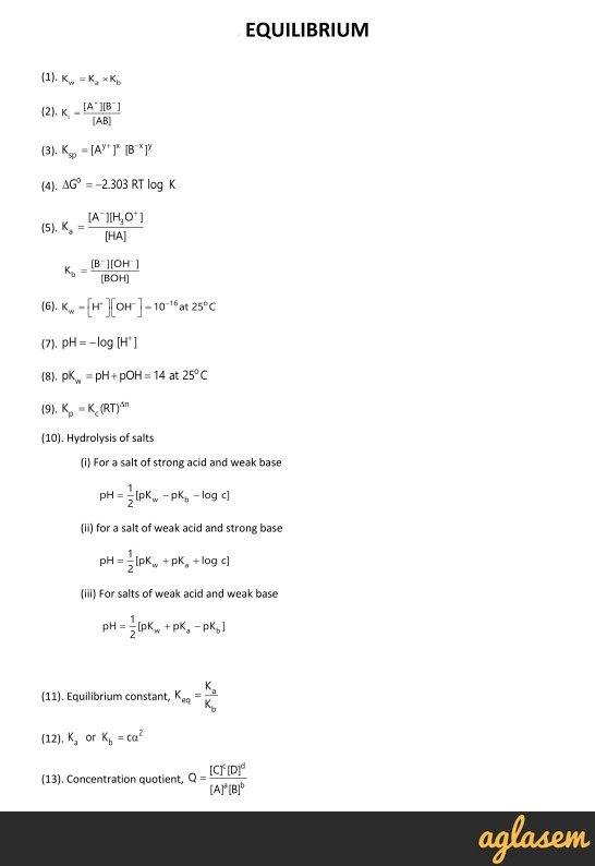 Important Notes of Chemistry for NEET, JEE: Equilibrium