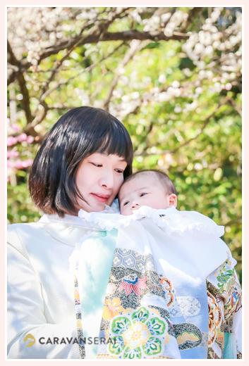 熱田神宮へお宮参り・100日祝い 梅の花と一緒に 名古屋市熱田区)男の子の着物・ベビードレス