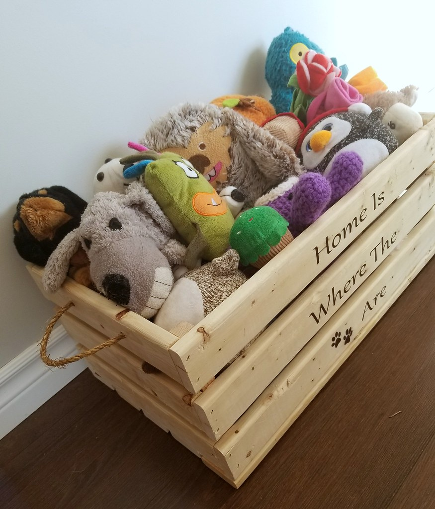 stenciled toy box dog toys home is where the paws are