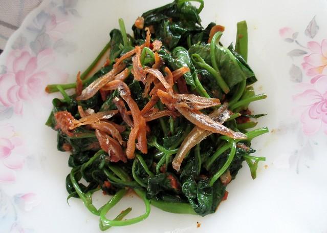 Fried kangkong belacan with ikan bilis