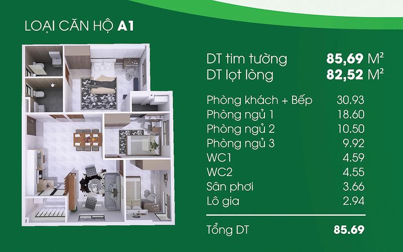 Căn hộ A1: 3 phòng ngủ, 2 WC, diện tích: 82,5 m2 Thủ Thêm Garden quận 9