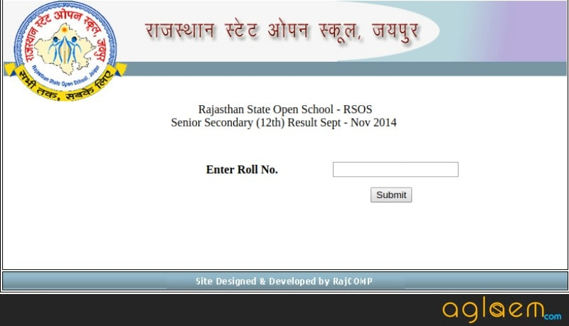Rajasthan State Open School Result 2018 for 12th class
