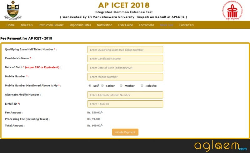 AP ICET Application Form 2018