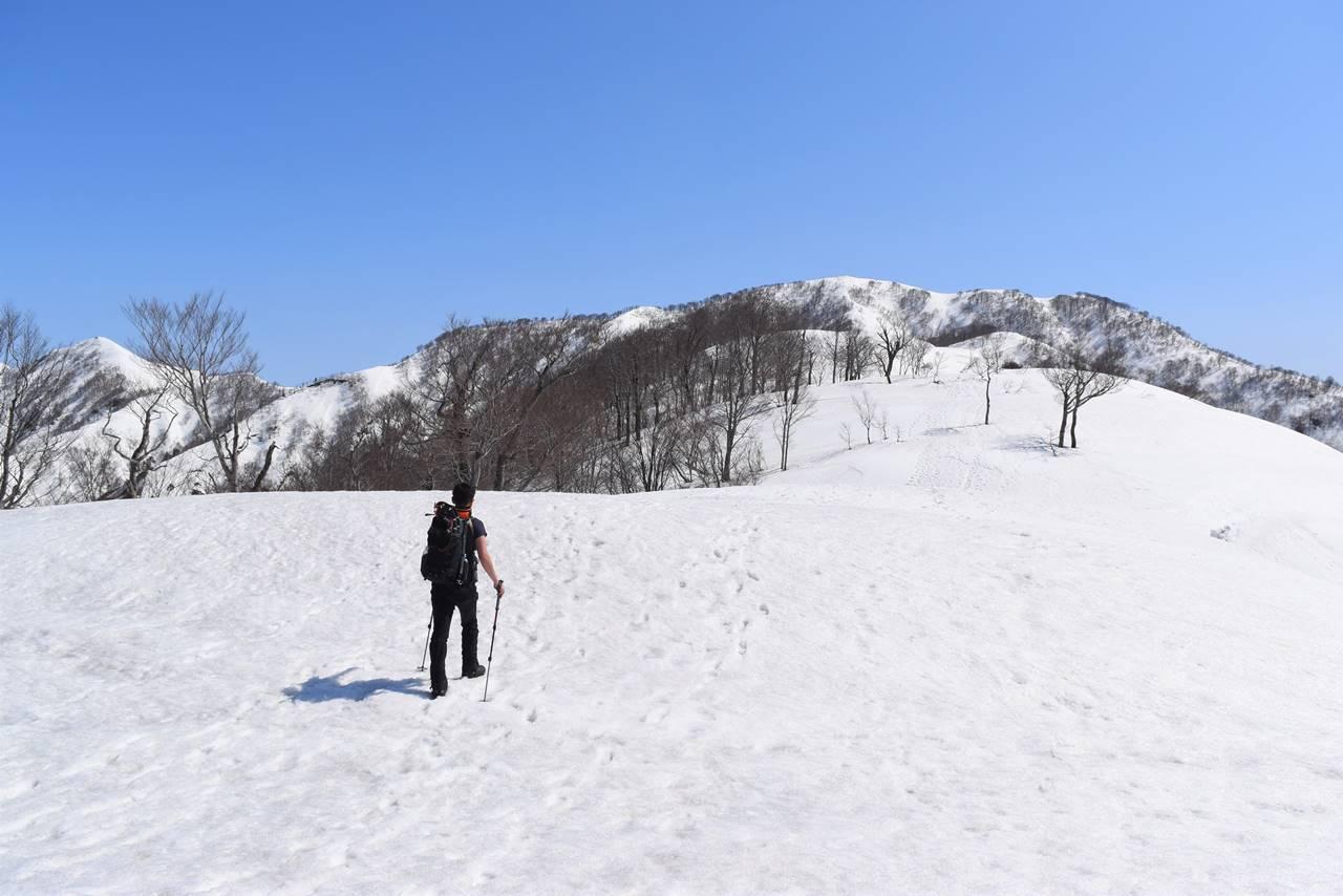 日向倉山残雪登山 快適な雪の稜線