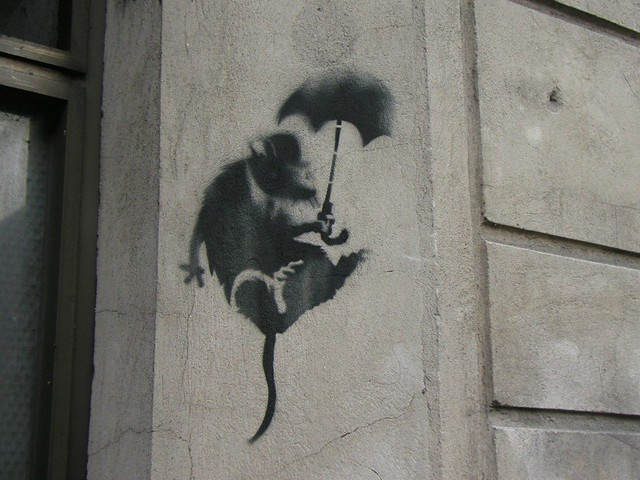 banksy rat brolly berlin germany shane walter flickr. Black Bedroom Furniture Sets. Home Design Ideas