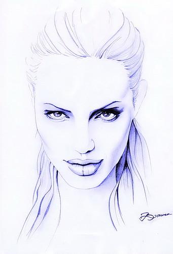 Анджелина джоли нарисованная карандашом поэтапно