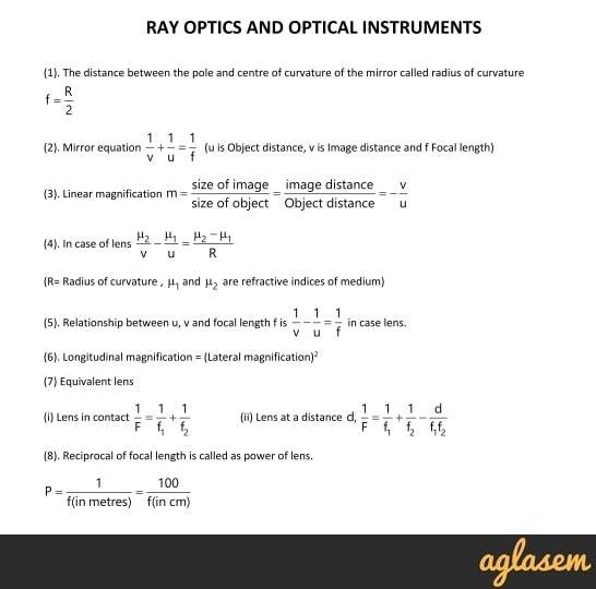 Important Notes of Physics for NEET, JEE: Ray Optics and Optical