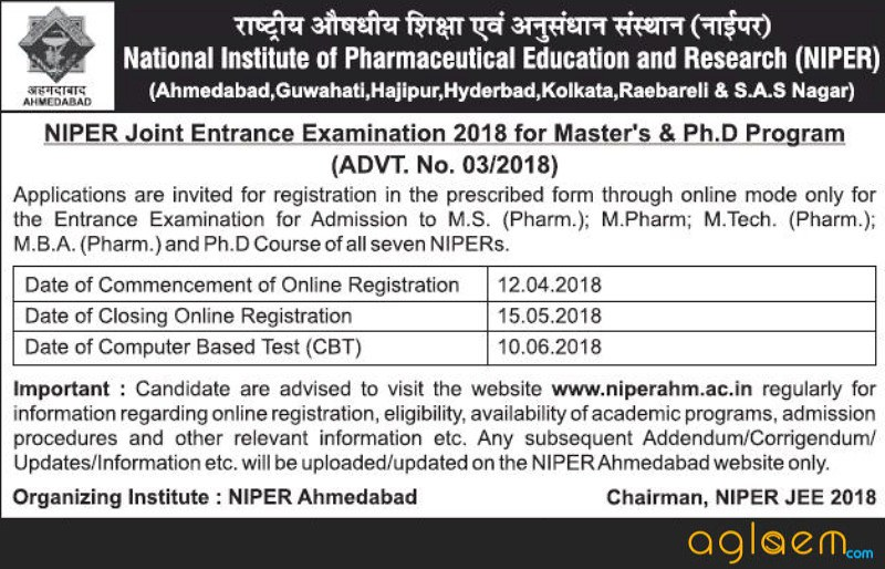NIPER JEE 2018: Notification Released By NIPER Ahmedabad; Registration Starting On 12 April