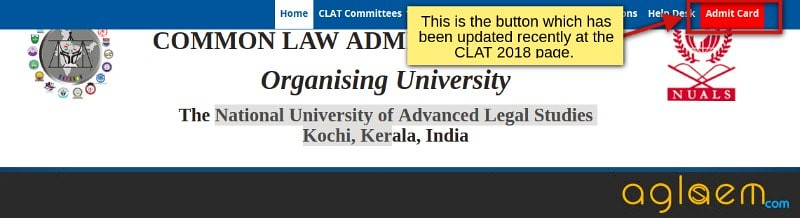 CLAT 2018 Admit Card  Download at clat.ac.in