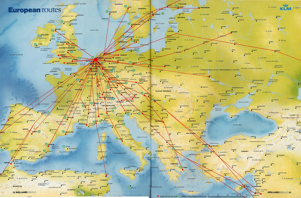 KLM European routes, 1993   March 1993   airbus777   Flickr