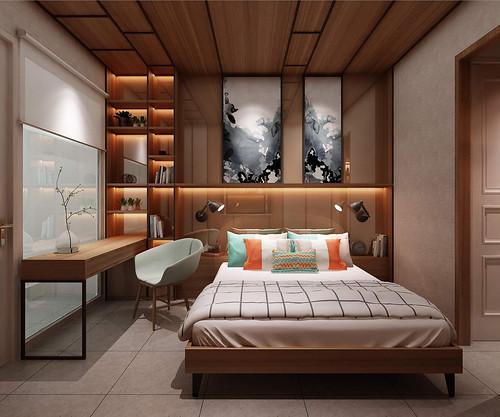 thiết kế phòng ngủ nhà mẫu dự án nhà phố Bùi Tư Toàn