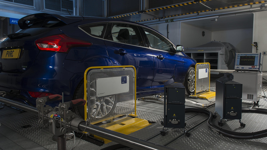 Car being tested on a chassis dynamometer