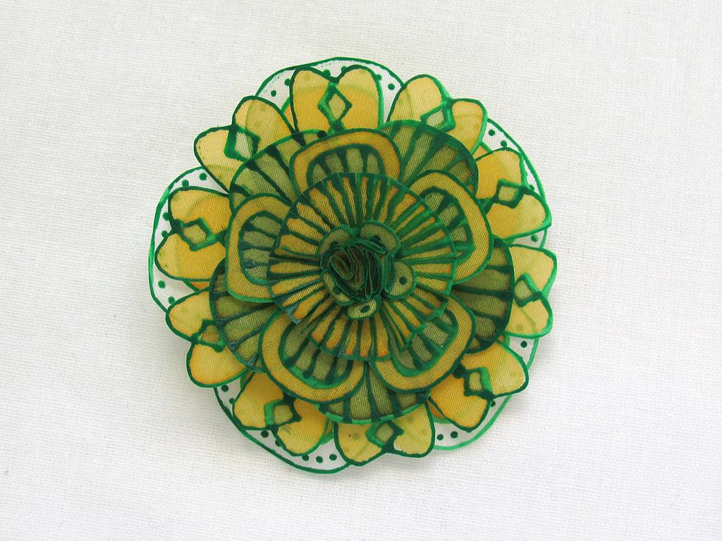 Spring Green Silk Flower Brooch Handmade Hand Painted Silk Flickr