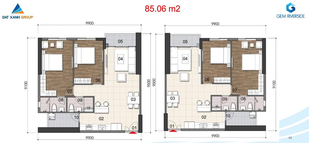 Thiết kế Mặt bằng tầng - căn hộ điển hình Gem Riverside 11