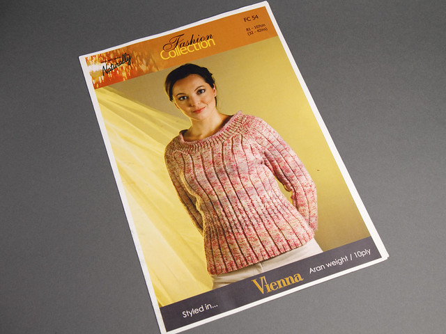 Naturally Yarns FC54 Women's Ribbed Aran Sweater Vintage Knitting Pattern Leaflet
