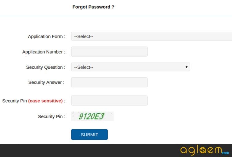 Recover WBJEE Password