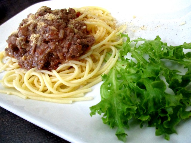 Gluten-free spaghetti with beef bolognese sauce