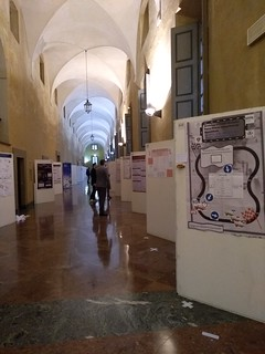 Poster session, with our poster in the first position | by jmerelo