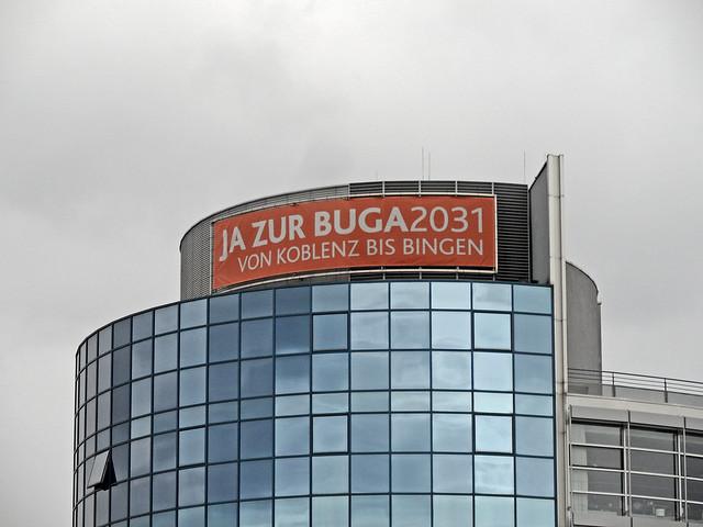 Werbeplakat zur Bewerbung um die BUGA 2031 im Mittelrheintal