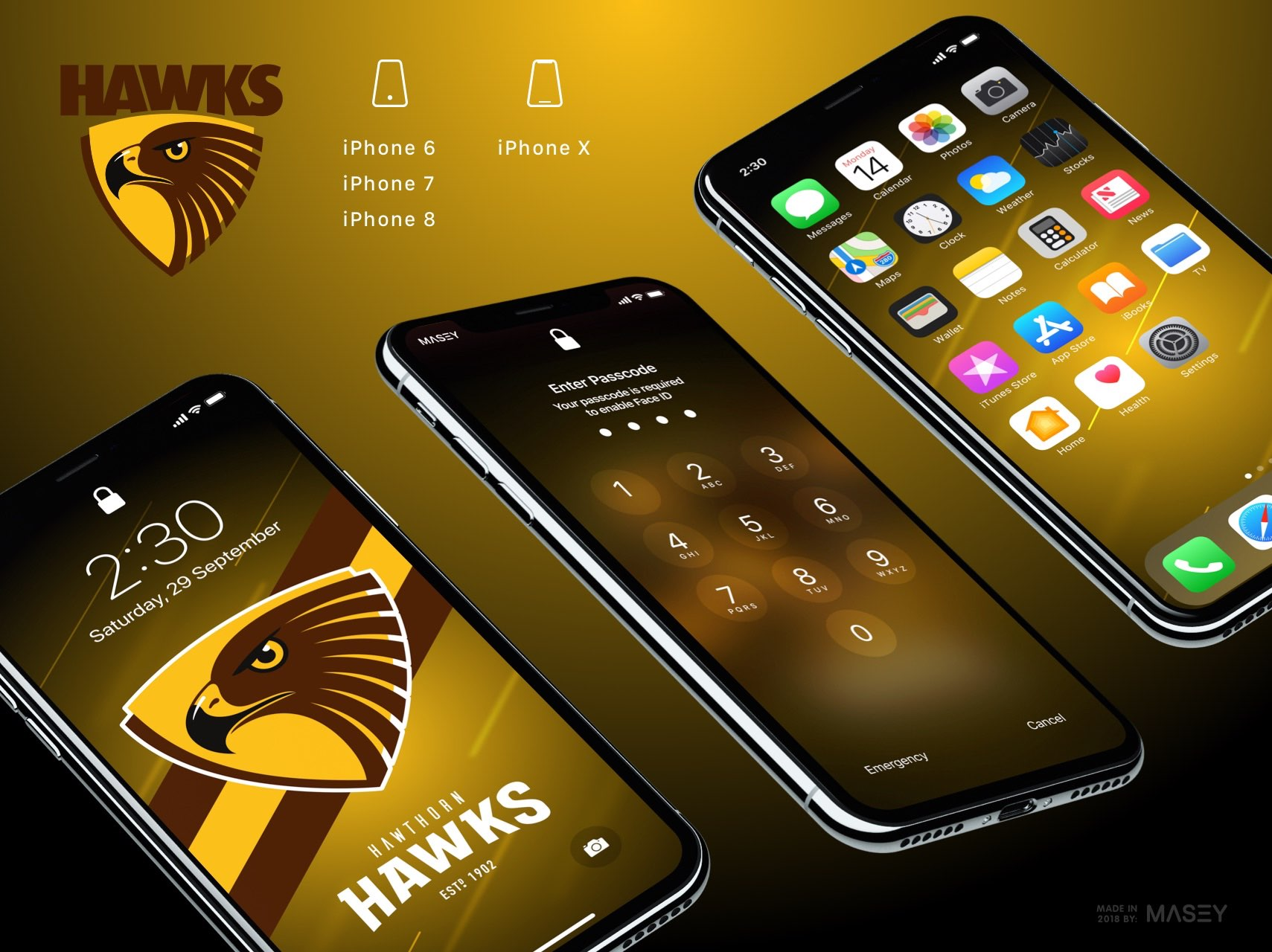 Hawthorn Hawks iPhone Wallpaper