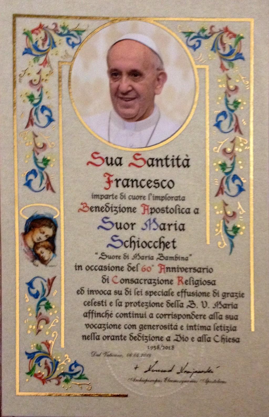 Benedizione del papa per Suor Maria