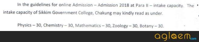 Sikkim Govt College Admission 2018
